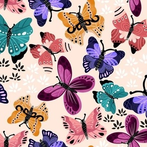 Colorful Butterflies V3-Light Pink