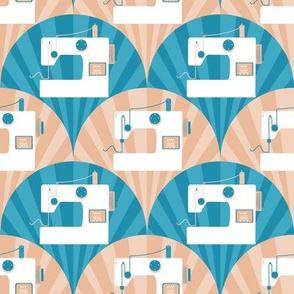 Sewing machine on  blue beige