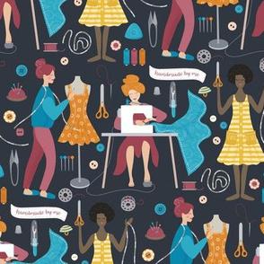 Sewing workshop on dark background