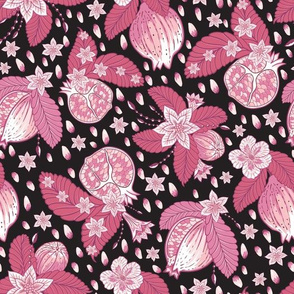 Pomegranate Chintz Pink Black