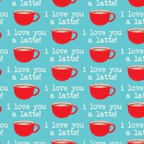 (small scale) I love you latte - red on light blue -  heart latte coffee  cup - valentines - LAD19BS