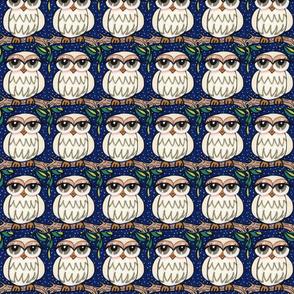 Owl in White Against Navy
