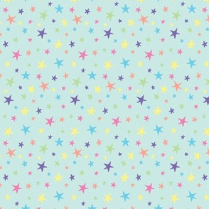 Rainbow Stars on Mint - Small Scale