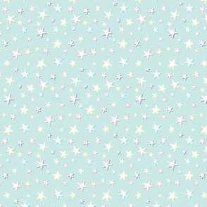 Rainbow Stars on Mint - White Shadow - Small Scale