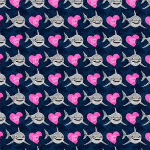 """(3/4"""" scale) Love Bites - Shark Valentines - Blue and Pink - LAD19BS"""