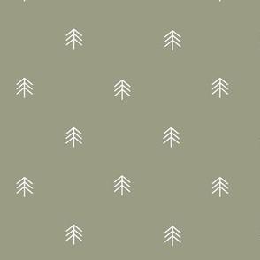 Medium Scale Plain Olive Green Trees