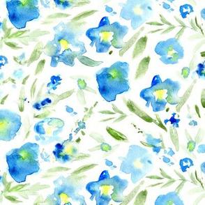Magic meadow in blue • watercolor florals