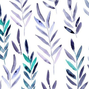 Magic leaves in purple and emerald • watercolor branches for modern home decor