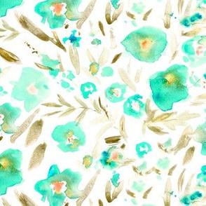 Magic meadow in aqua and earthy tones • watercolor flowers