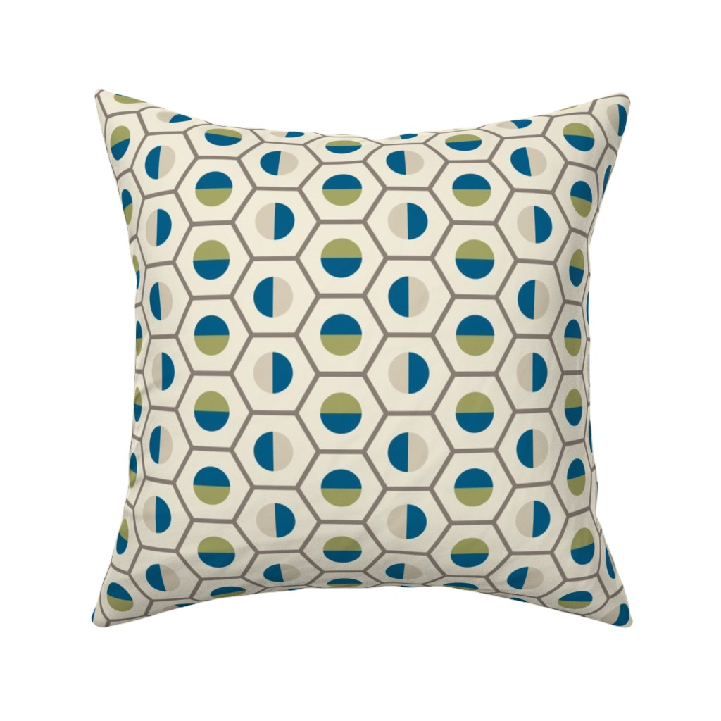 Catalan Throw Pillow featuring geo-circle_multi-color by ejmart
