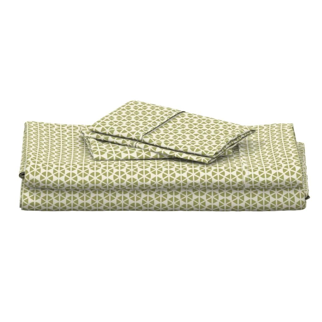 Langshan Full Bed Set featuring geo-flower green by ejmart