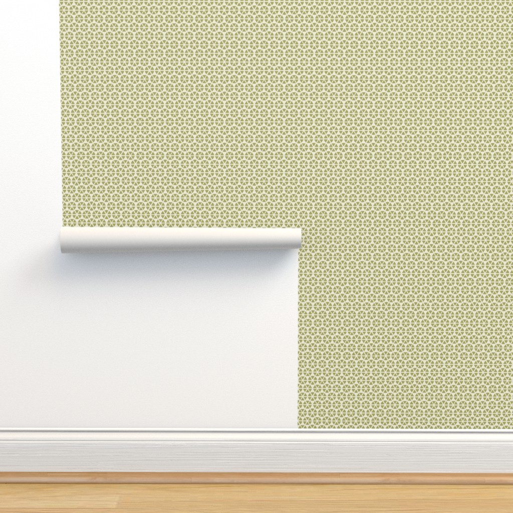 Isobar Durable Wallpaper featuring geo-flower green by ejmart