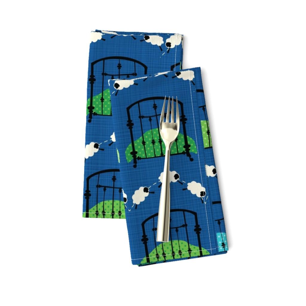Amarela Dinner Napkins featuring Simply Sleepy - blue/green by miyatake_designs