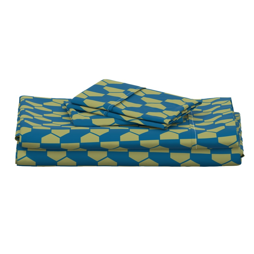 Langshan Full Bed Set featuring geo-ball green-blue by ejmart
