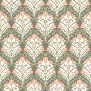 Crocus Art Nouveau_Olive-Sage-Salmon 50Size