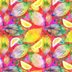 LARGE SCALE LEMON ZEST RAINBOW WATERCOLOR STYLE FUCHSIA RED PINK PSMGE