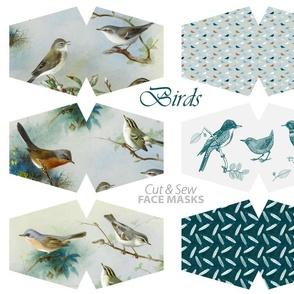 Bird lover cut & sew face masks -  painted birds, tiny birds, toile de jouy, feathers