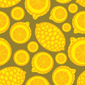 Bright Yellow Geometric Citrus Lemons from UnBlink Studio by Jackie Tahara