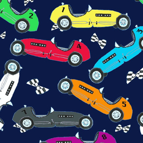 Jacks race cars in navy - large scale