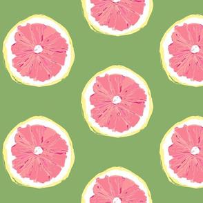 Hand-drawn Pop Art - Pink Grapefruit Halves  Large Scale