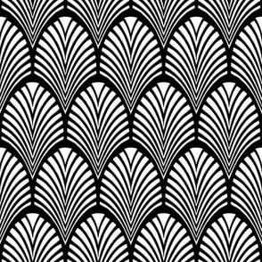 Art Deco Fans white on black