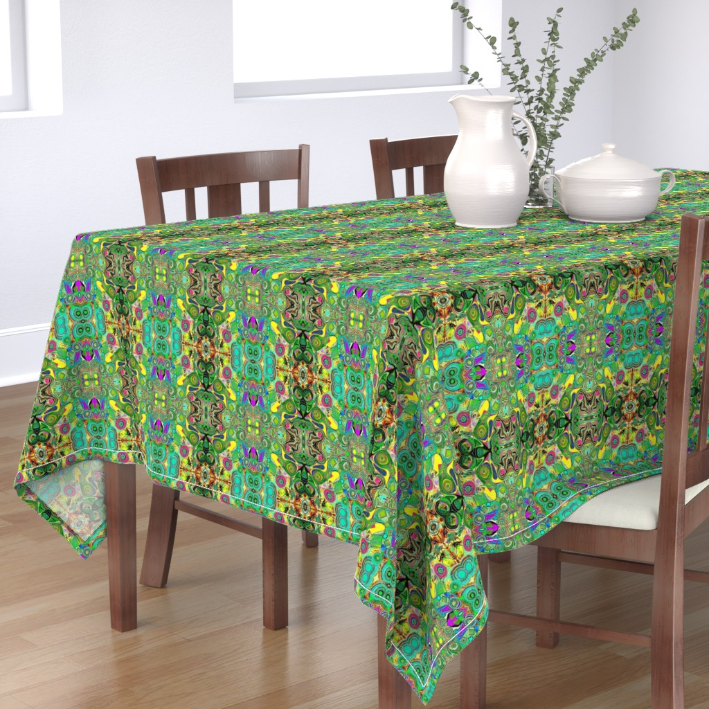 Bantam Rectangular Tablecloth featuring Peacocks14c by colortherapeutics