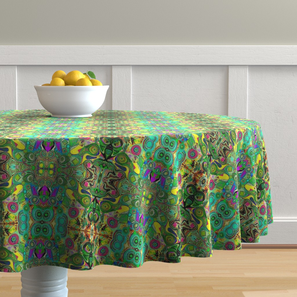 Malay Round Tablecloth featuring Peacocks14c by colortherapeutics