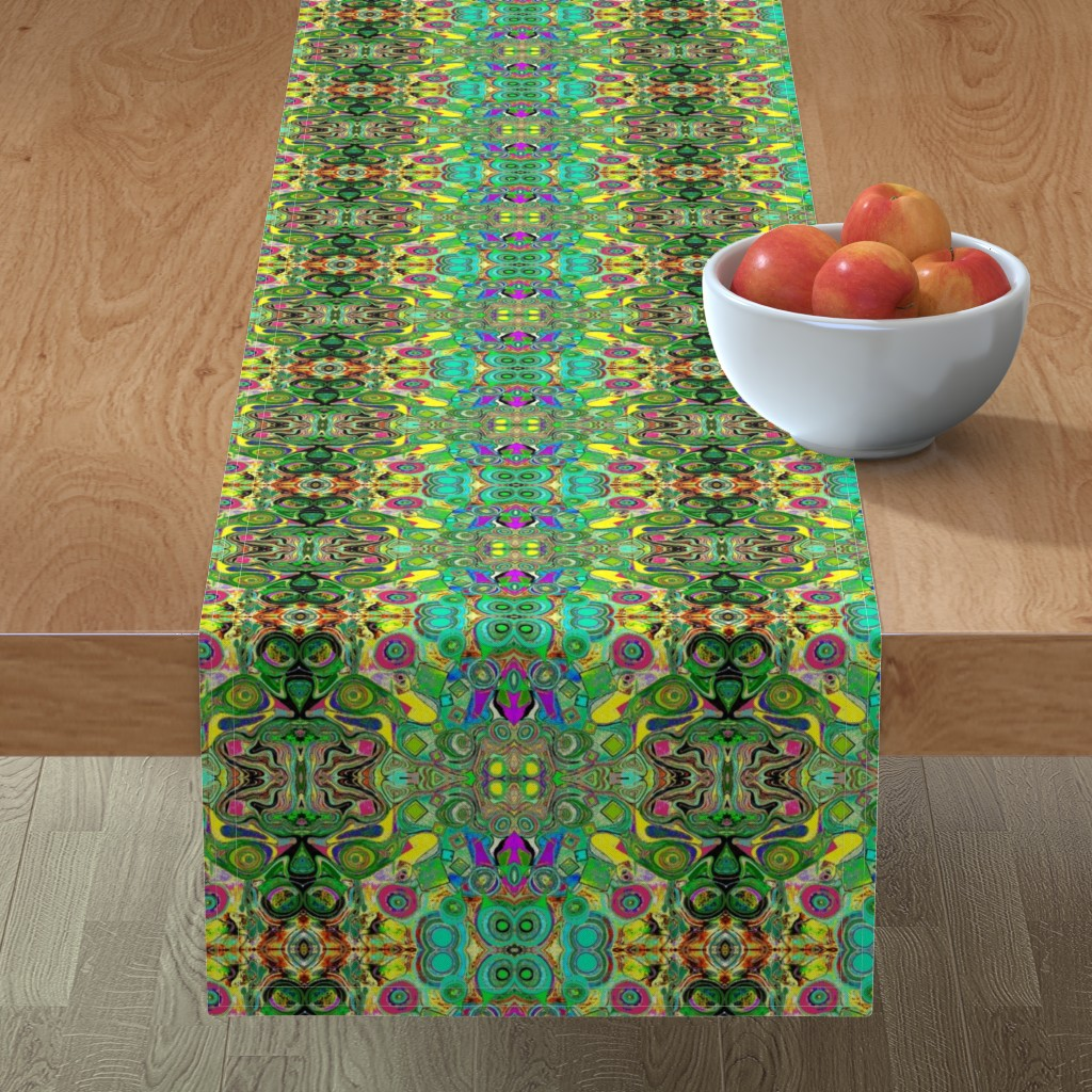 Minorca Table Runner featuring Peacocks14c by colortherapeutics