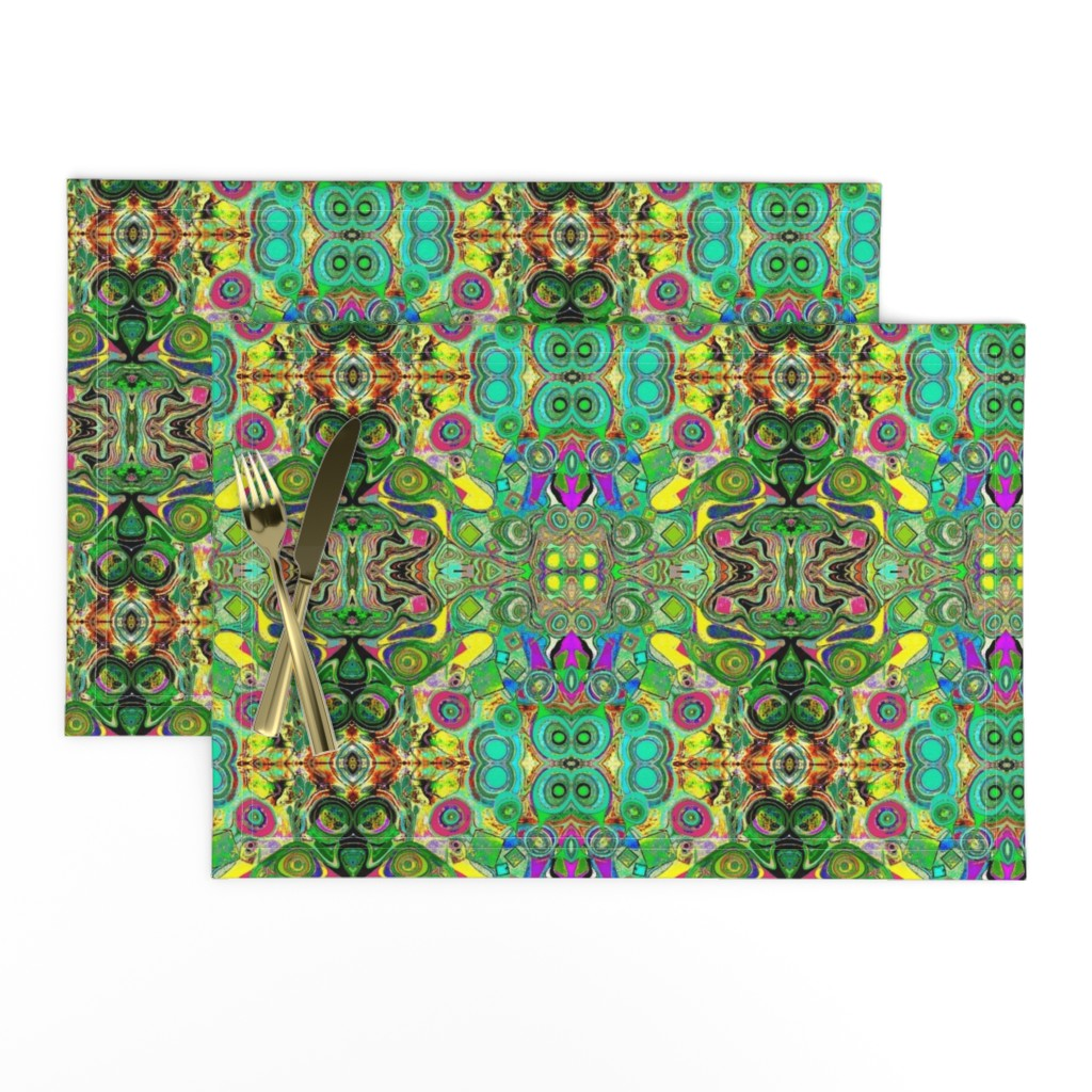 Lamona Cloth Placemats featuring Peacocks14c by colortherapeutics