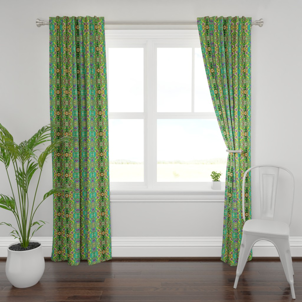 Plymouth Curtain Panel featuring Peacocks14c by colortherapeutics