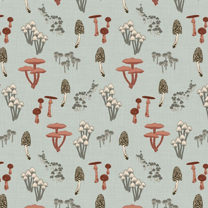 Shrooms Pink - Pool - Small - Linen Texture
