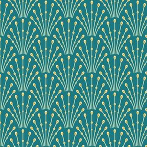 art deco beads - peacock