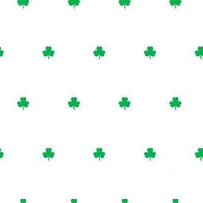 shamrocks - polka dots - green on white - St Patrick's day - LAD19