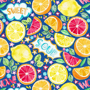 Sweet and Sour - Citrus Fruit on Royal Blue