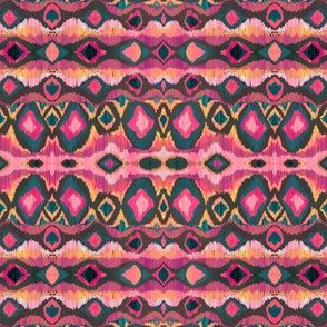 Tribal ikat pink and teal