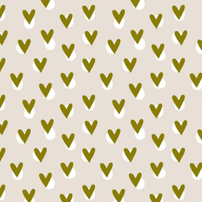 Hearts - Olive Green
