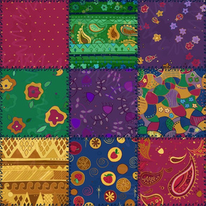 Patchwork Jewel Tone 70s Cheater Quilt