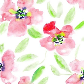 Midsummer bloom in red • large scale watercolor flowers