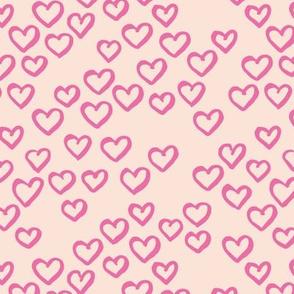 Little love dream minimal hearts ink sketch raw brush valentine design creme pink