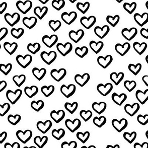 Little love dream minimal hearts ink sketch raw brush valentine design black and white monochrome