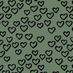 Little love dream minimal hearts ink sketch raw brush valentine design sage green black