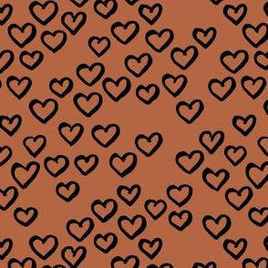 Little love dream minimal hearts ink sketch raw brush valentine design rust copper brown black