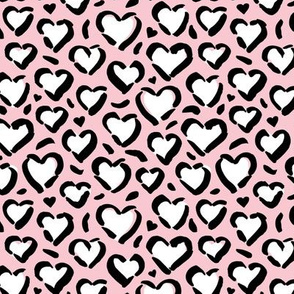 Leopard love minimal abstract hearts raw inky style panther print animal design pink