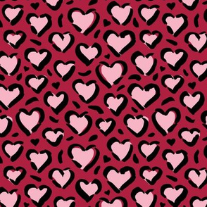 Leopard love minimal abstract hearts raw inky style panther print animal design maroon pink