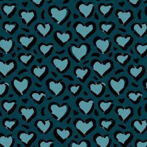 Leopard love minimal abstract hearts raw inky style panther print animal design navy blue winter