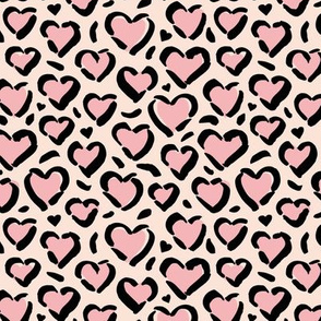 Leopard love minimal abstract hearts raw inky style panther print animal design cream pink