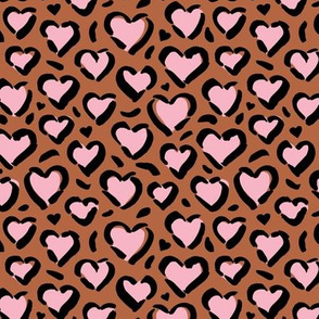 Leopard love minimal abstract hearts raw inky style panther print animal design rust copper pink