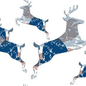 Reindeer Running shades of blue