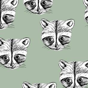 Little raccoon friends ink drawing woodland animal print sage green