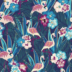Jewel-tone flamingo forest/large scale